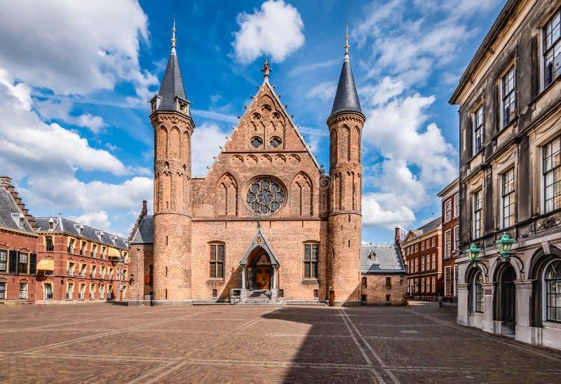Sala dei Cavalieri Ridderzaal presso la Corte Interna di Binnenhof, L'Aia, Olanda, Paesi Bassi immagine stock libera da diritti