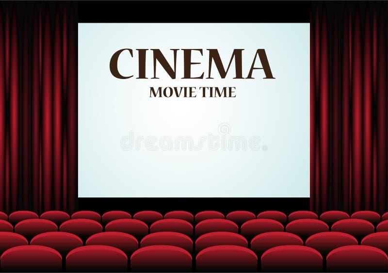 Sala del cinema di film con lo schermo ed i sedili rossi illustrazione di stock