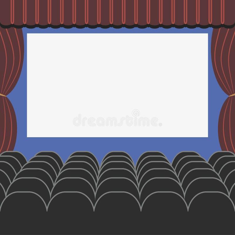 Sala del cinema nello stile piano con i sedili, la tenda e lo schermo in bianco Corridoio del teatro o di film Vettore illustrazione di stock