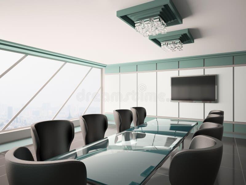 Sala del consiglio moderna 3d interno illustrazione vettoriale