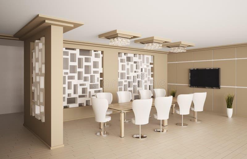 Sala del consiglio moderna con affissione a cristalli liquidi 3d interno illustrazione vettoriale