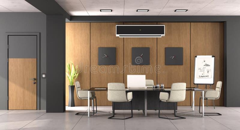 Sala del consiglio moderna nera e di legno illustrazione vettoriale
