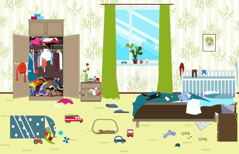 Sala desarrumado onde a família nova com bebê pequeno vive Sala bagunçado Confusão dos desenhos animados na sala Brinquedos Uncol ilustração do vetor