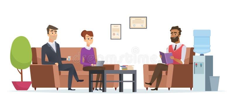 Sala di attesa di affari La gente ai caratteri di seduta interni moderni di vettore di ricezione della pausa tè dell'ingresso del illustrazione di stock