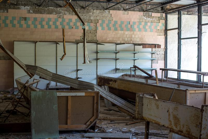 Sala di attesa in nessun ospedale 126 nella citt? fantasma di Pripyat, zona della centrale atomica di Cernobyl di alienazione, Uc immagini stock