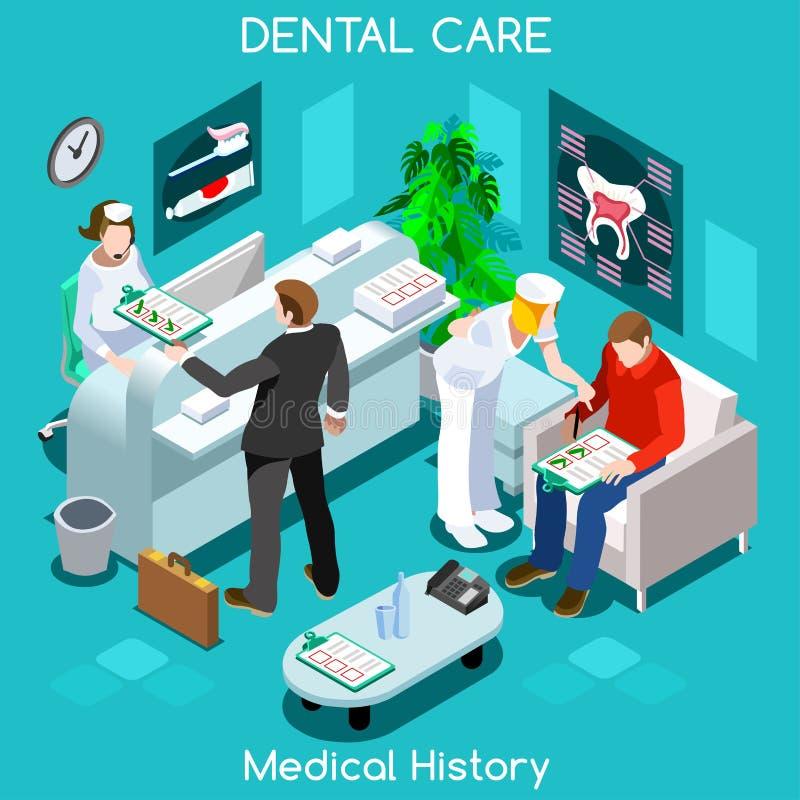 Sala di attesa paziente di anamnesi del dentista prima della visita medica illustrazione vettoriale