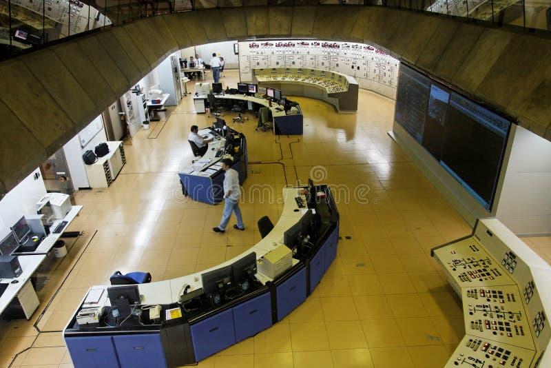 Sala di controllo della pianta di forza idroelettrica di Itaipu immagine stock libera da diritti