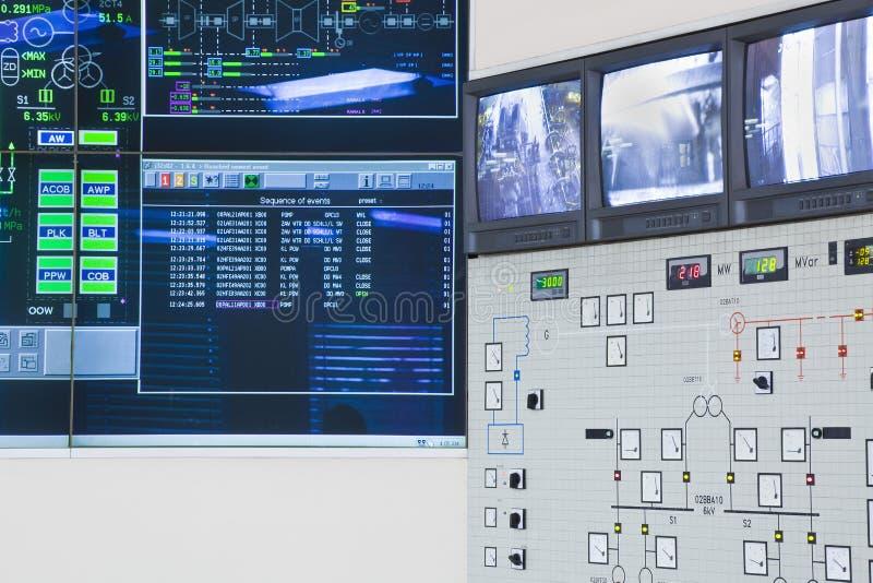 Sala di controllo nella fabbrica di potere fotografie stock libere da diritti