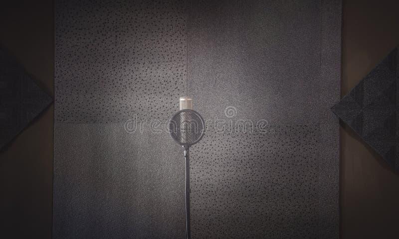 Sala di registrazione del suono del cuscinetto di discorso e condensatore del Mic fotografie stock