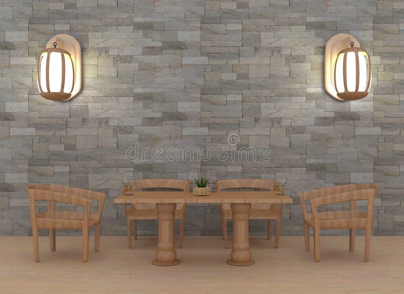 Sala dinning moderna com interior da lâmpada na rendição 3D ilustração stock