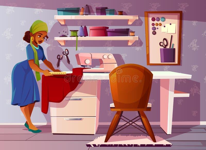 Sala do alfaiate do vetor, estúdio com costureira de Aframerican ilustração royalty free