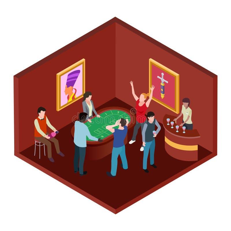 Sala do casino, conceito de jogo isométrico do vetor 3d ilustração do vetor