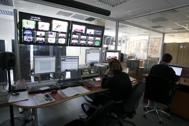 A sala do diretor da televisão fotos de stock