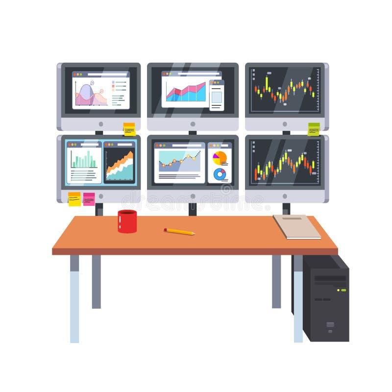 Sala do escritório com os painéis da mesa e do tela de computador ilustração stock