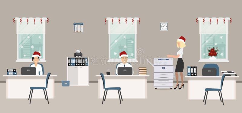 Sala do escritório, decorada com decoração do Natal Empregados novos em tampões de Santa no local de trabalho ilustração do vetor