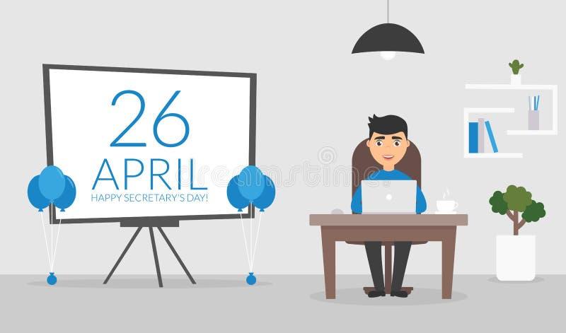 Sala do escritório em abril, 26 Dia feliz do ` s do secretário Homem de negócios que trabalha em um computador Caráter bonito Pro ilustração stock