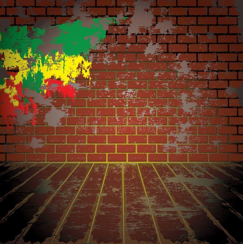 Sala do Grunge com parede de tijolo ilustração stock