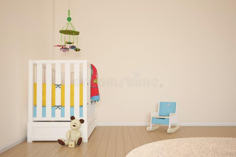 Sala do jogo das crianças com cama ilustração do vetor
