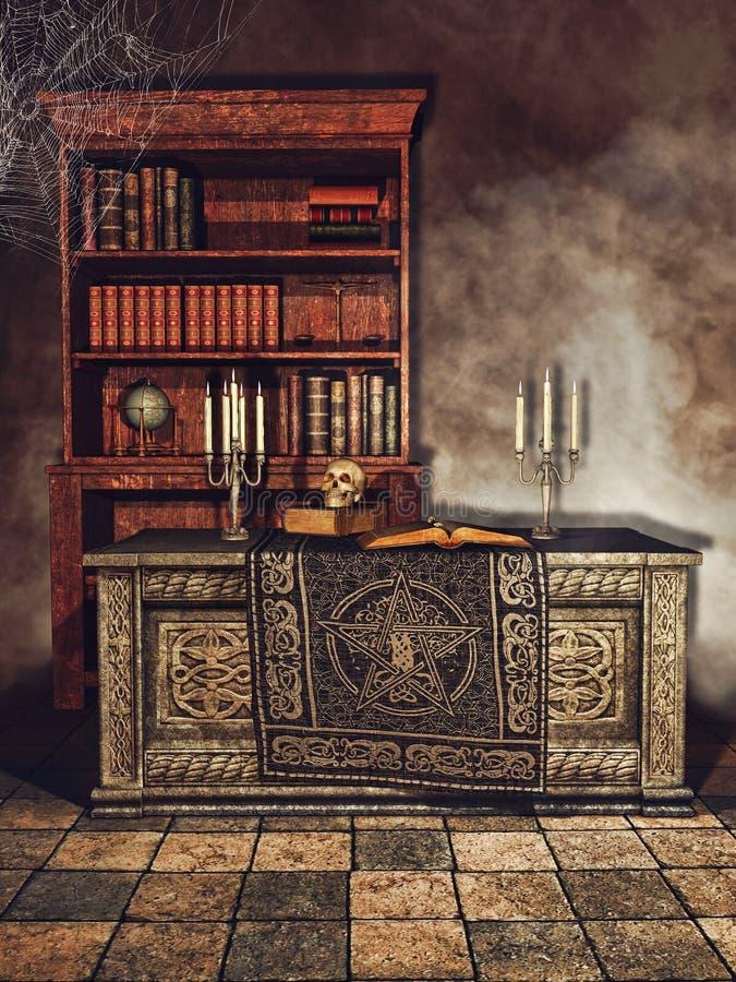 A sala do mágico da fantasia ilustração do vetor