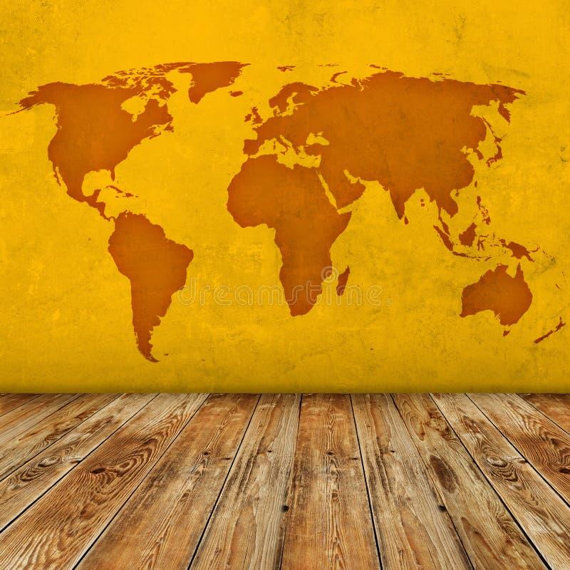 Sala do mapa do mundo do Grunge foto de stock