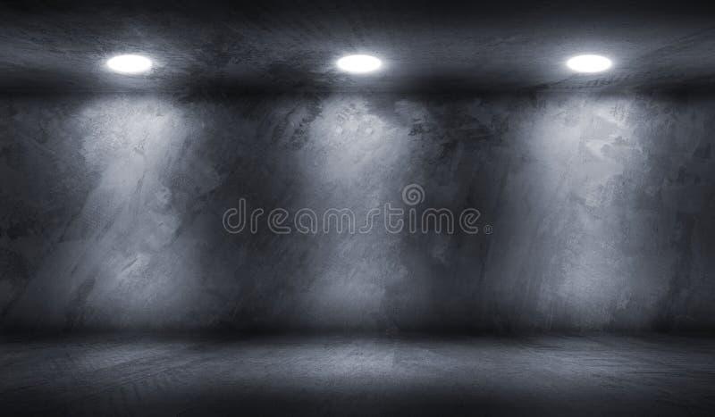 Sala do muro de cimento com a garagem vazia do assoalho ilustração do vetor