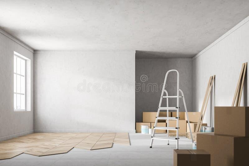 Sala do muro de cimento com o assoalho de madeira inacabado ilustração stock