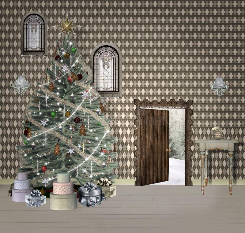 Sala do Natal da fantasia ilustração royalty free
