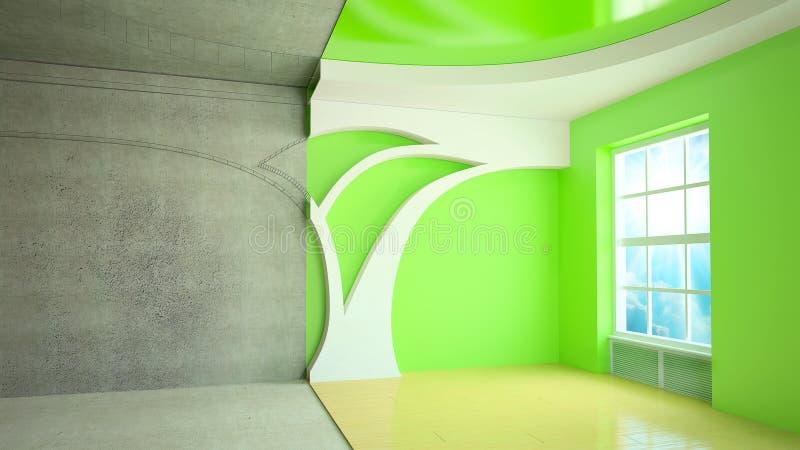 sala do plano 3D ilustração stock