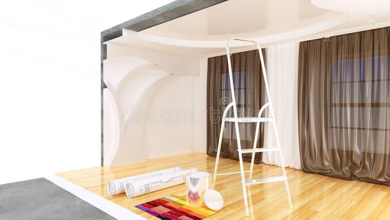 sala do plano 3D ilustração royalty free
