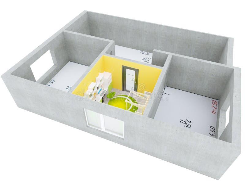sala do plano 3D foto de stock