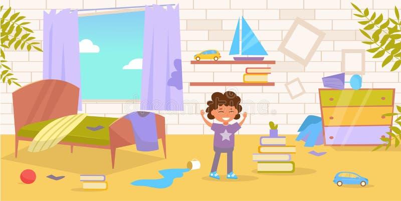 Sala do ` s das crianças Vetor sujo, desarrumado cartoon Arte isolada no fundo branco ilustração royalty free