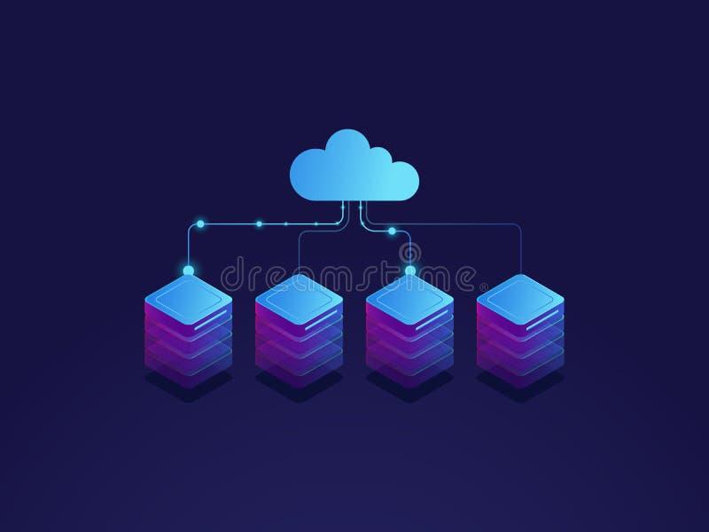 Sala do servidor, ícone do armazenamento da nuvem, datacenter e conceito do base de dados, processo de intercâmbio de dados isomé ilustração do vetor