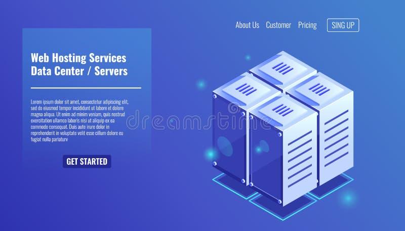 Sala do servidor, ícone isométrico da cremalheira, serviços de acolhimento do Web site, vetor do conceito do datacenter ilustração royalty free