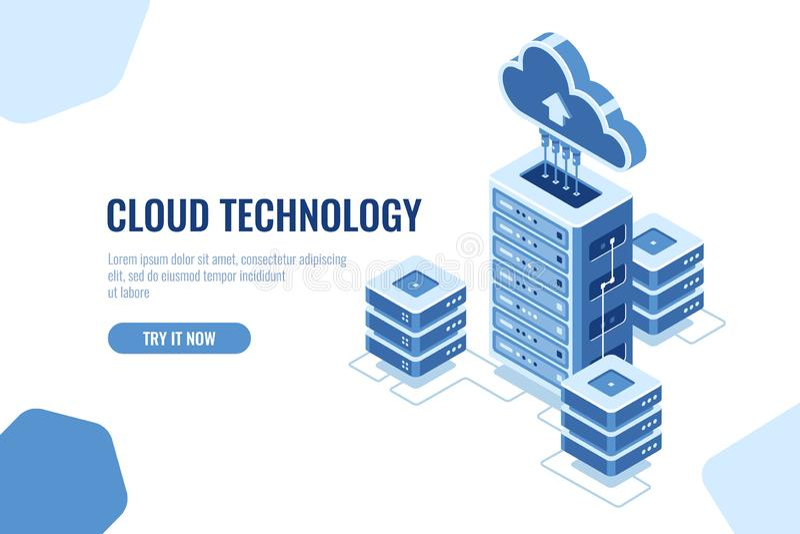 Sala do servidor, ícone isométrico do datacenter, no fundo branco, tecnologia que computa, vetor da nuvem de transferência do ban ilustração stock