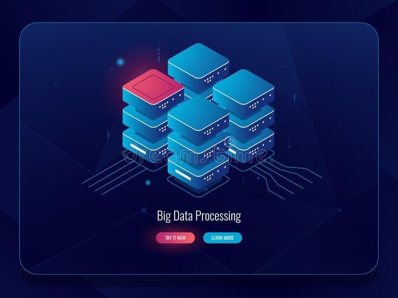 Sala do servidor, ícone isométrico de processo de dados grande do armazenamento da nuvem, soluções digitais futuristas, elemento  ilustração do vetor