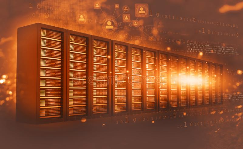 Sala do servidor de computador com dados binários ilustração do vetor