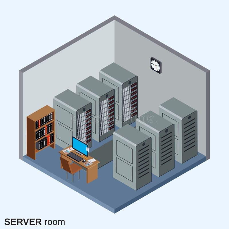 Sala do servidor, ilustração interior do vetor do centro de dados ilustração royalty free