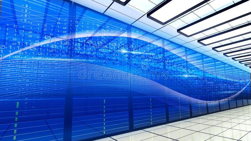 Sala do servidor no centro de dados grande com projeto do c?digo bin?rio Computador super interior moderno para comunica??es digi ilustração do vetor
