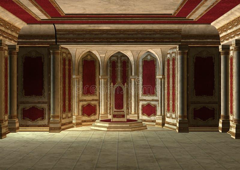 Sala do trono do conto de fadas ilustração do vetor