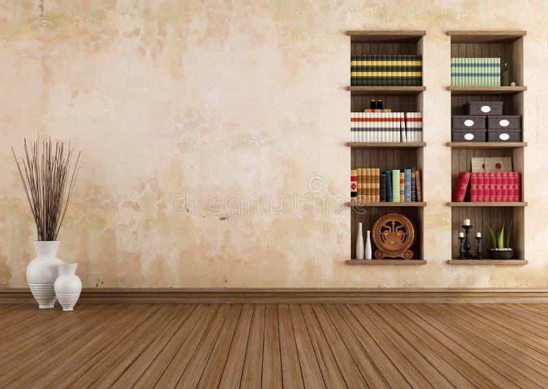 Sala do vintage com estantes ilustração do vetor