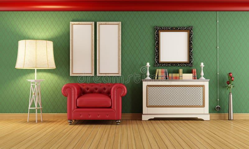 Sala do vintage com a poltrona clássica vermelha ilustração royalty free