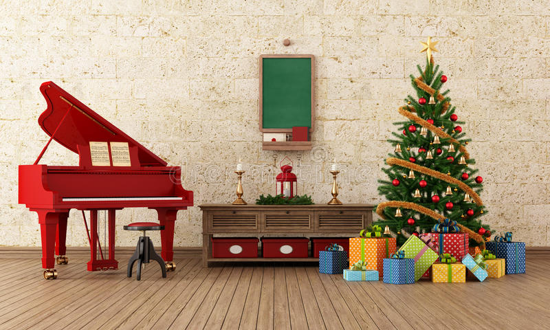 Sala dos christams do vintage com piano de cauda vermelho ilustração royalty free