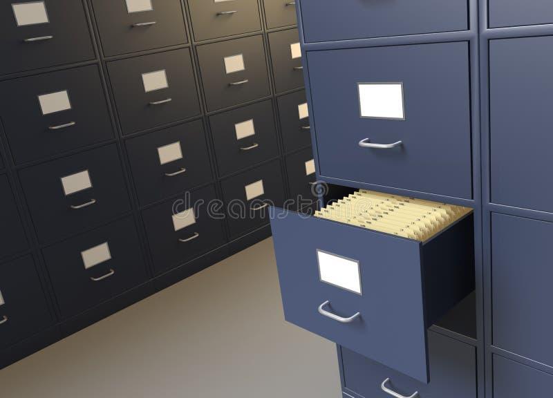 Sala e gabinetes do arquivamento para arquivos ilustração royalty free