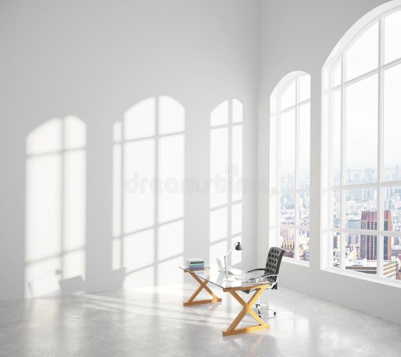 Sala ensolarada moderna grande com tabela vítreo, cadeira e os wi grandes da janela ilustração royalty free