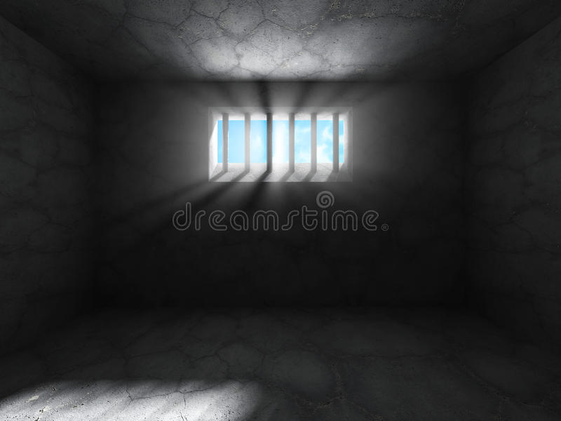 Sala escura concreta da cela Fundo do Grunge ilustração stock