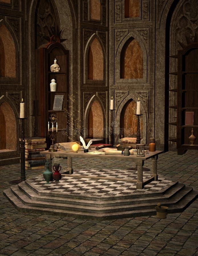 Sala escura do feiticeiro ilustração royalty free