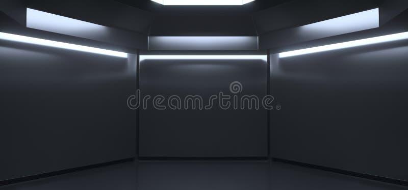 Sala escura vazia realística com luzes imagens de stock royalty free