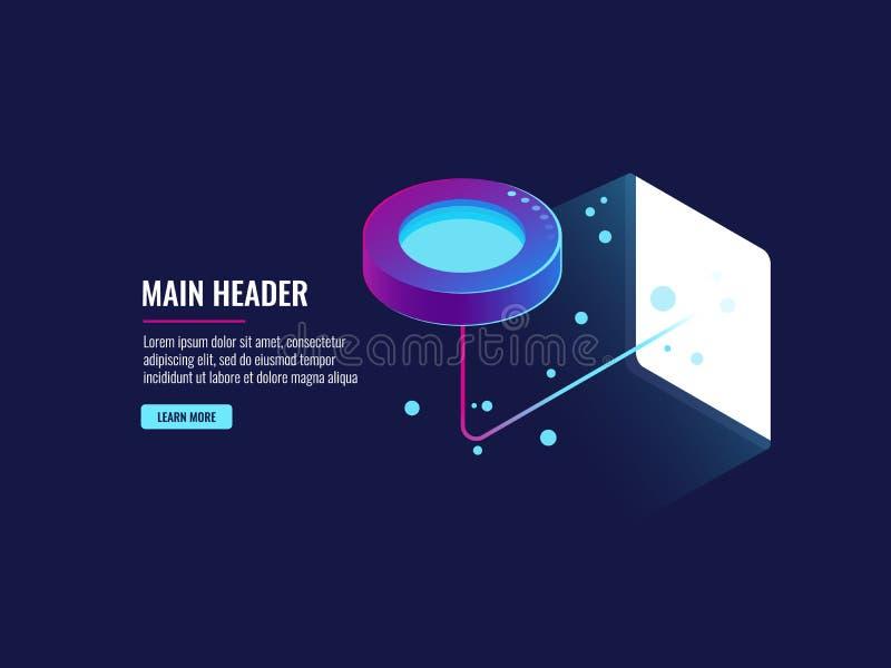 Sala, fluxo de dados e bigdata do servidor processando o conceito, ícone do armazenamento da nuvem, néon futurista da obscuridade ilustração do vetor