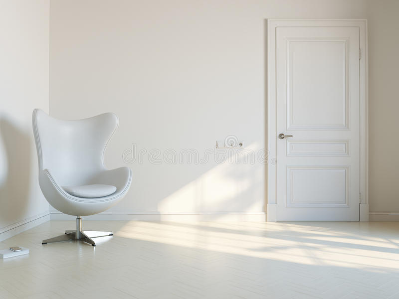 Sala interior branca minimalista com Armchai luxuoso foto de stock royalty free