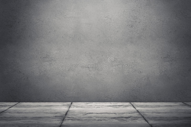 Sala interior com muro de cimento e o assoalho sujos rendição 3D mim fotografia de stock